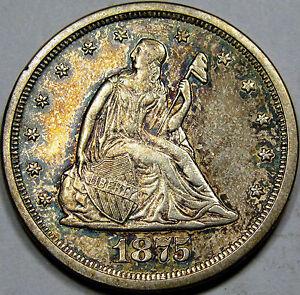 1875-S/S U.S. Twenty Cent Piece Choice BU MS++... Very Flashy with NICE COLOR!!!