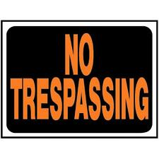 Hy-Ko White Durable Plastice Waterproof 9x12 No Tresspassing Sign 3014 10pk