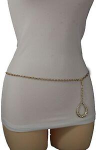 Women Fashion Belt High Waist Hip Long Gold Metal Chains Drop Charm Plus M L XL