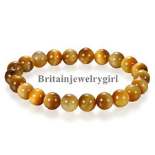 Unisex Handmade Gem Semi Precious Gemstone 8mm Ball Beads Stretch Bracelet