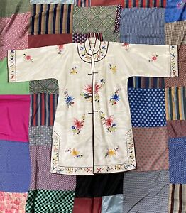 Vintage Chinese Colorful White Silk Floral Embroidered Robe Or Jacket