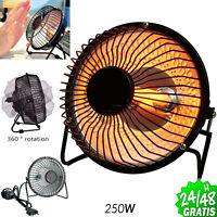 Mini Calefactor Portátil de Quarzo c Inteuptor 250W Bajo Consumo 360º Silencioso