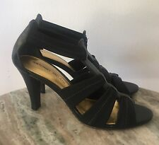 Antonio Melani Black T Strap open Toe Sandals Stretch Heels Shoes Size 7.5M