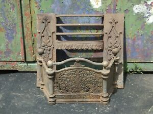 Antique Victorian Fire Surround and Fender Cast Iron with Brass Decoration