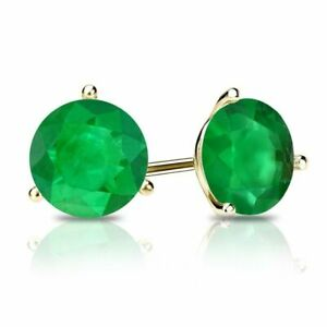 Emerald Solitaire Stud Earrings 14k Yellow Gold