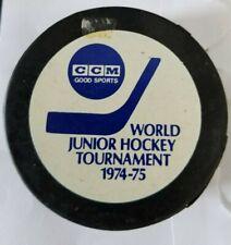 world junior hockey tournement 1974 hockey puck