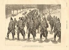 1890 ANTIQUE PRINT-CANADIAN ARTILLERY RETURNING FROM SNOW SHOE DRILL,QUEBEC