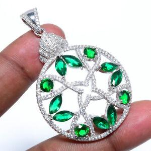"Emerald Quartz & White Topaz Gemstone 925 Sterling Silver Pendant 2.17"" M1419"