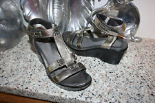 NAOT metallic leather FLIRT ankle strap wedge sandals Israel size 39/8.5
