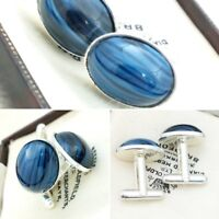 Vintage - CZECH 1950s Blue & Black Striped Glass - Oval Silver Plated Cufflinks