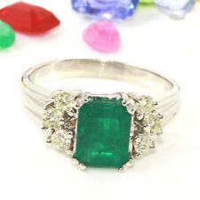 2.00 Carat Natural Emerald 14K Solid White Gold Diamond Ring