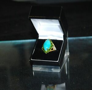 925 Silver/Gilt Amazonite/Diopside/Zircon Dress Ring