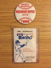 Wisconsin Rapids Twins Defunct Baseball Team Booster Club Pin & Pocket Schedule