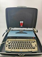 Smith- Corona Electra 120 Blue & Tan Typewriter With Case In Working Condition