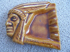 Ashtray INDIAN CHIEF HEAD Stoneware Chief OSHKOSH WISCONSIN Figural Indian Face