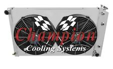 """1975-1979 Olds Omega 3 Row Champion Radiator With Shroud And 12"""" Spal Fans"""