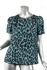 MARC JACOBS Womens Teal+Black Lepoard Print Short Sleeve Blouse 4 NEW