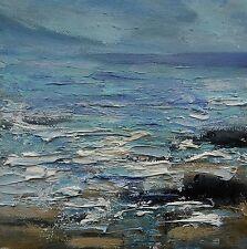 Original huile sur toile signé Vagues Mer Roches IMPRESSIONNISTE PAYSAGE MARIN PEINTURE *