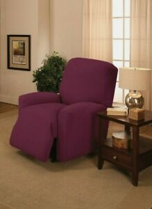 PURPLE CHAIR SLIPCOVER-ALSO COMES IN SOFA COUCH LOVESEAT RECLINER FUTON SIZES  D