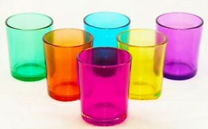 12 Rainbow Colour Glass tealight candle wedding party event table room decor