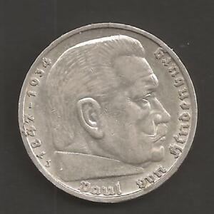 5 Reichsmark Paul von Hindenburg 1938 J mit HK    -1600-