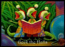 Vintage Christmas Gecko Lizards Caroling Music - Christmas Greeting Card Unused