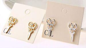 scissors earrings gold silver studs hairdresser hair craft artist gift uk seller