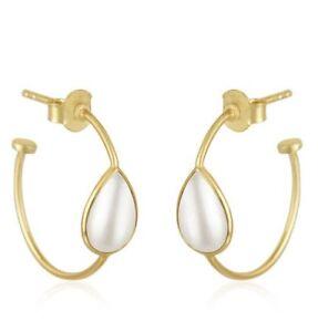 Pearl 18K Gold Plated 925 Sterling Silver Hoop Earrings Gemstone Jewelry