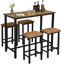 5 pcs Kitchen Bar Table Dining Room Table Set with 4 Bar Stools Rustic Brown New