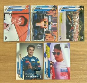 2020 TOPPS CHROME FORMULA ONE F1 LANDO NORRIS ROOKIE REFRACTOR LOT of 5