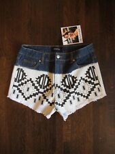 NWT MINK PINK Bleach Aztec Distressed Denim High Rise Jeans Shorts Size M