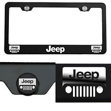 Laser Engraved Jeep Mirror Matte Black License Plate Frame T304 Stainless Steel