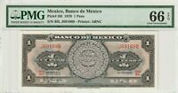 PMG Certified Mexico 1970 1 Peso Banknote UNC 66 EPQ Gem Pick 59l ABNC US Seller