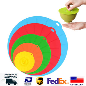 5 Silicone Lids Bowl Reusable Kitchen Food Storage Suction Covers Pans Microwave