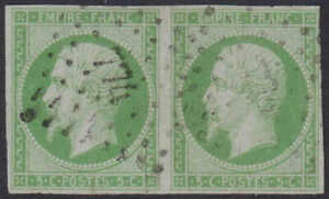 1853 Empire, 5c, green, pair,  Y&T #12, with good to large margins, superb stamp