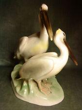 Pair of pelicans figurine by Keramos Wiener Kunstkeramik rare Vienna Austria KWK