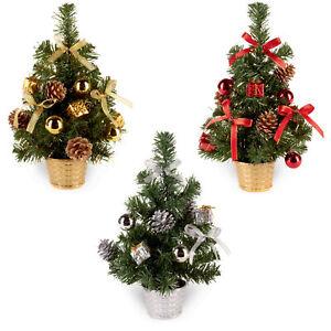 30cm Christmas Tree - Tinsel Flecks, Decorations & Pine Cones - Choose Colour