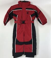 SPYDER BOYS RED BLACK SNOWSUIT INSULATED HOODED ONE PIECE SNOWBOARD SKI SUIT 3
