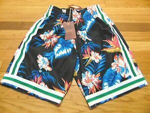 MITCHELL & NESS NBA HWC BOSTON CELTICS 1985-86 SWINGMAN FLORAL SHORTS SIZE S