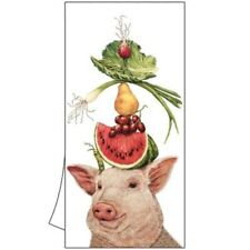 "New 2 Cotton Kitchen Bar Towels 18x26"" Vicki Sawyer Lulu & Her Lunch Pig Gift"