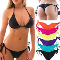 2017 Women Brazilian Cheeky Bikini Bottom Ruched Side-Tie Swimwear Swimsuit S-XL