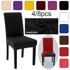 4/8PCS Dining Chair Seat Covers Slip Stretch Wedding Banquet Party Removable UK