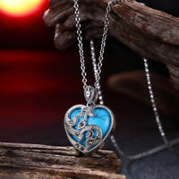 18K White Gold Plated Marcasite Turquoise Heart Pendant Necklace