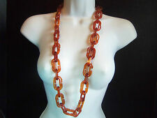 PREOWNED LARGE THERMOSET LUCITE DARK AMBER COLOR NECKLACE ESTATE JEWELRY