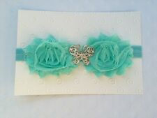 Newborn Baby Girl Mint Shabby Flower with Butterfly Rhinestone Headband 0-18mos