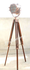 Vintage Floor/Standard Lamp With Wooden Tripod Nautical E27 Studio Searchlight.