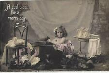LITTLE GIRL PLAYING IN A BATH TOY DOLL - WASH STAND WITH JUGS 1910 POSTCARD