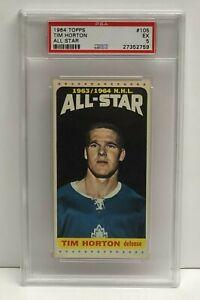 1964 Topps TIM HORTON All Star card #105 Toronto Maple Leafs PSA 5 EX
