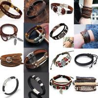 Fashion Multilayer Braided Leather Bracelet Charm Cuff Bangle Wristband Jewelry