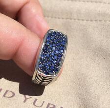 Genuine David Yurman 925 Sterling Silver & Sapphire Chevron Ring Sz 9